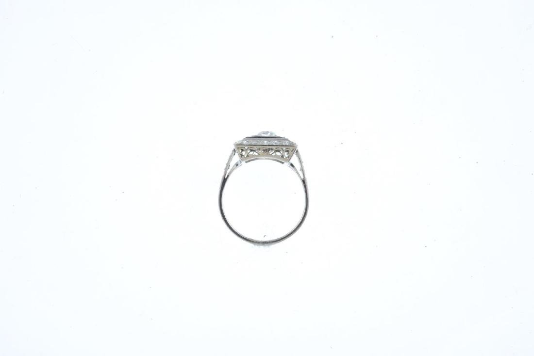 A diamond and onyx dress ring. The old-cut diamond, - 2