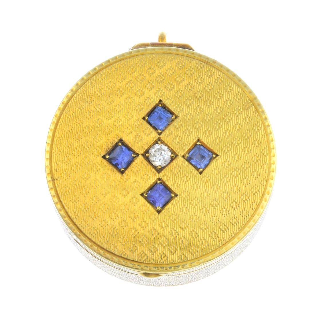 A mid 20th century diamond and sapphire rouge pot. Of