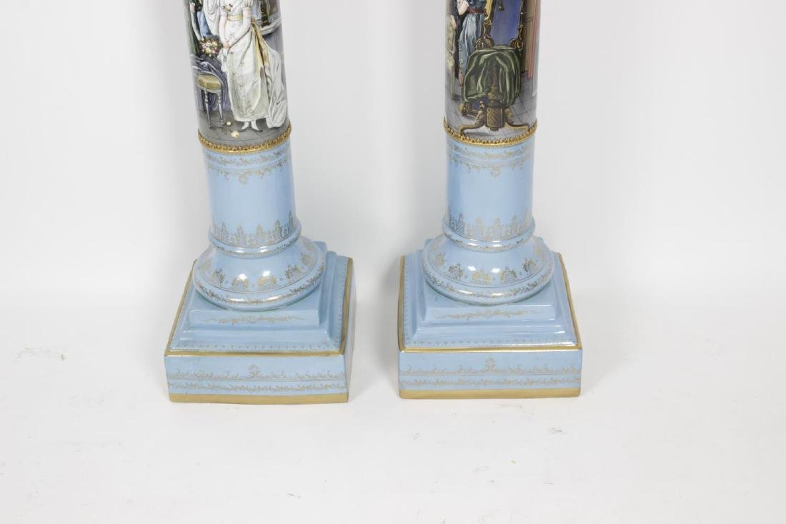 A pair of reproduction Sevres style vases and covers, - 4