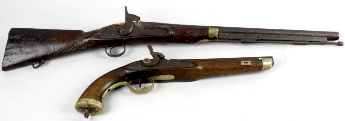 A 19th century percussion cap pistol (a/f), together