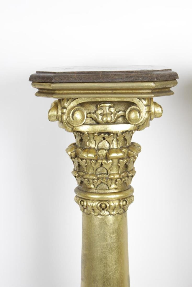 A pair of reproduction carved gilt wooden torchere - 2