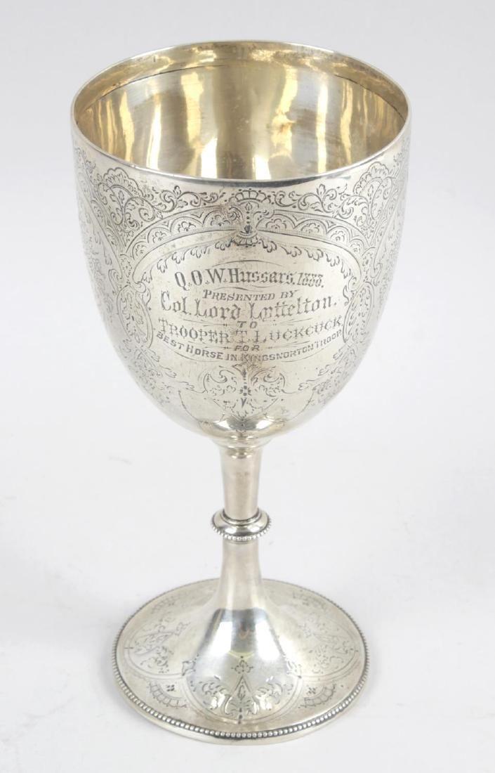 A late Victorian silver goblet, the circular bowl