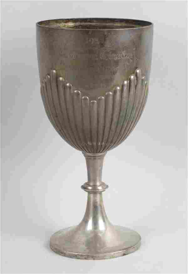 A late Victorian silver trophy cup, of goblet form with