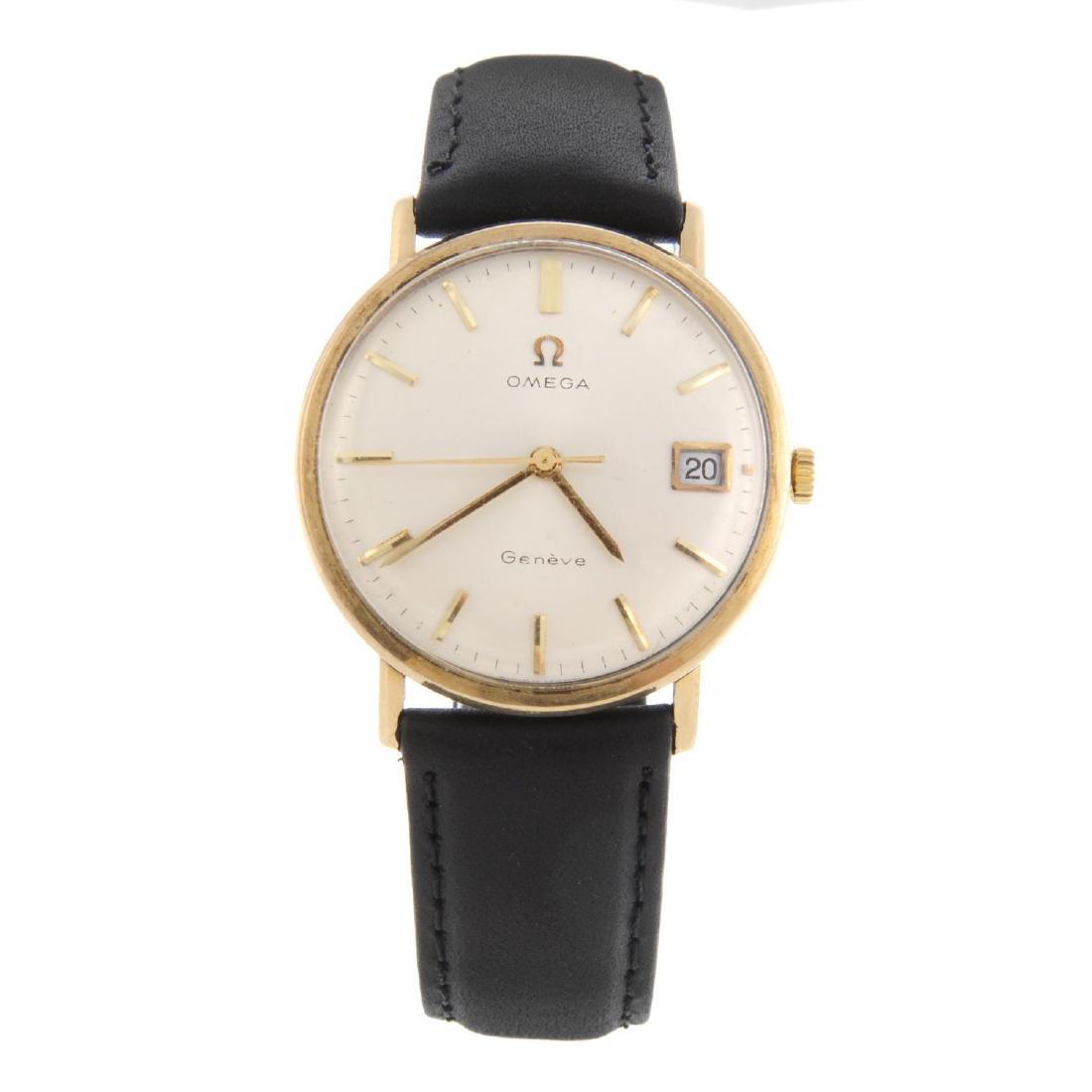 OMEGA - a gentleman's Genève wrist watch. 9ct yellow