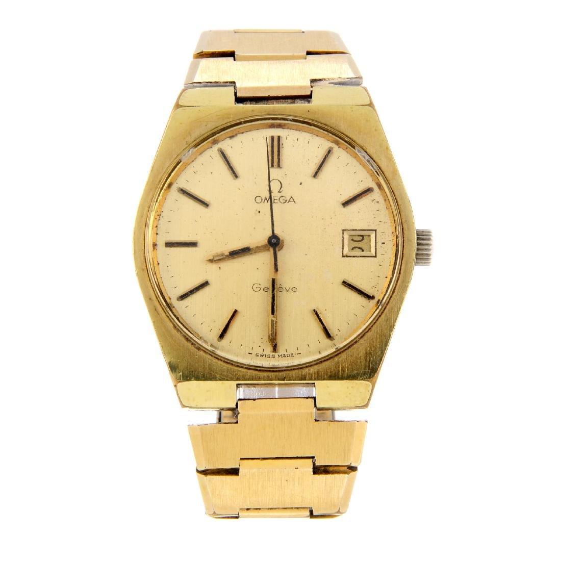 OMEGA - a gentleman's Genève bracelet watch. Gold