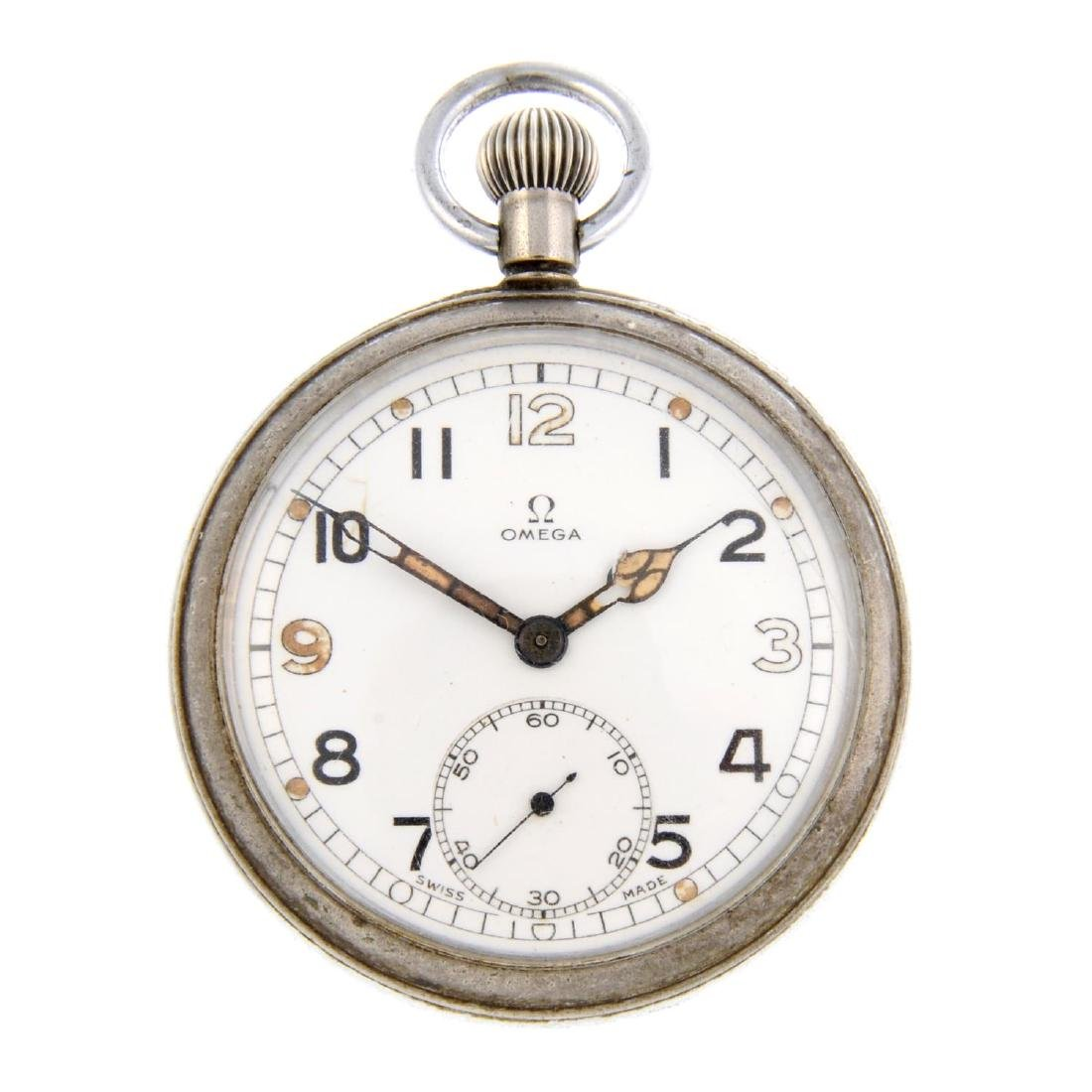 An open face military issue pocket watch by Omega.