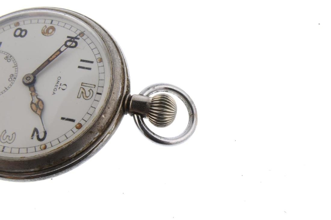 An open face military issue pocket watch by Omega. - 3