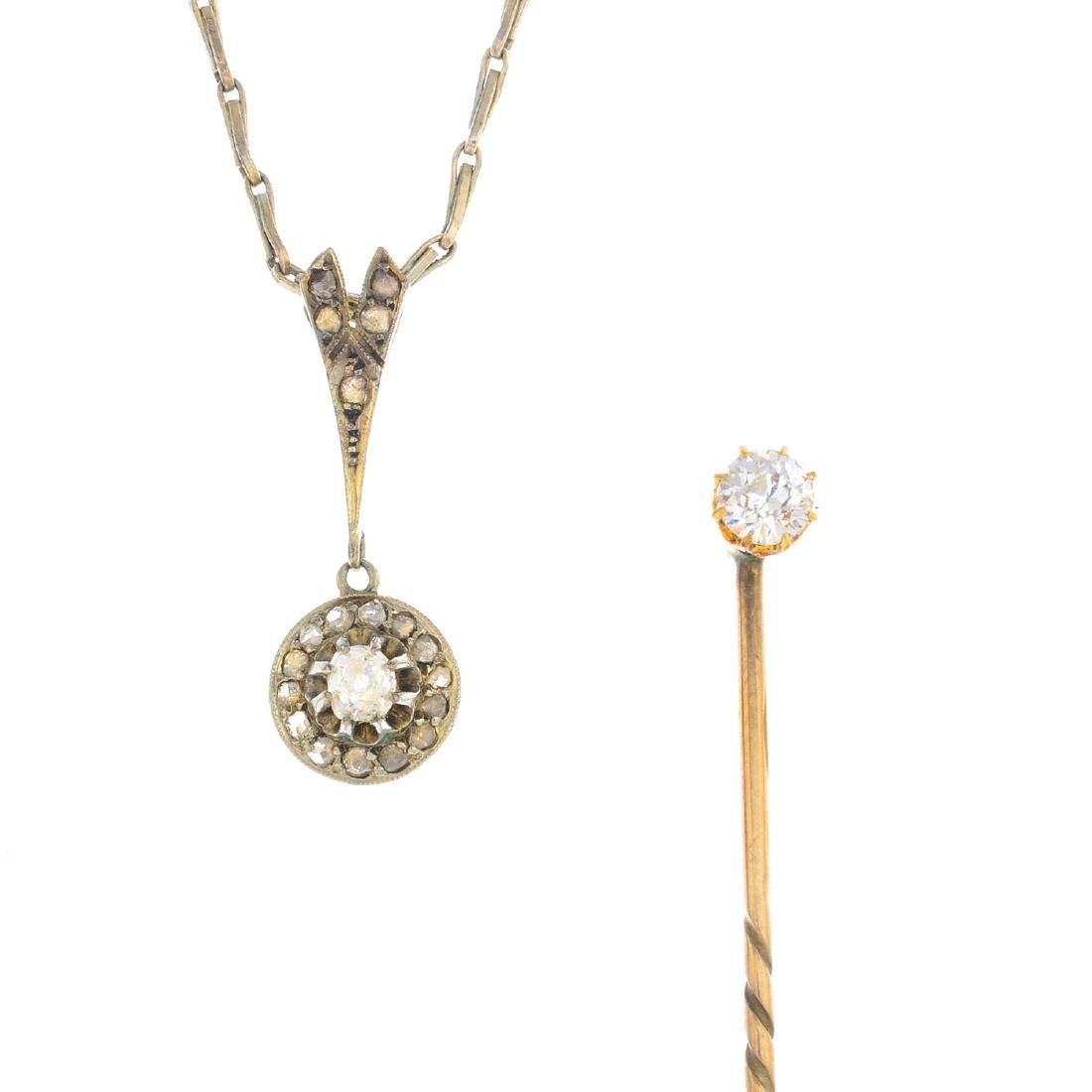Two items of diamond jewellery. To include an early