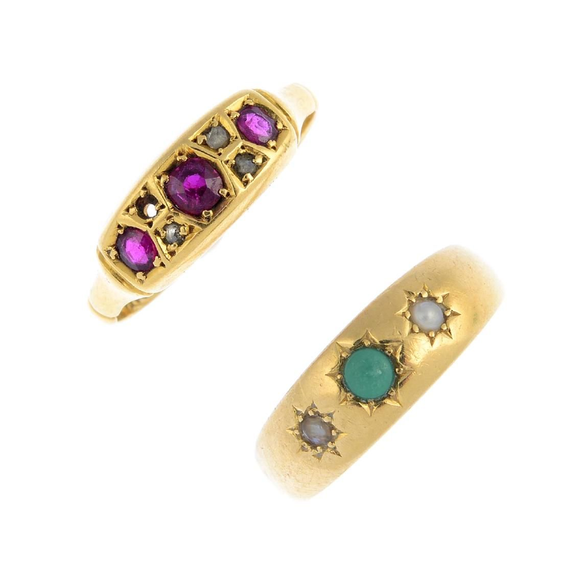 Two 18ct gold gem-set rings. To include a late