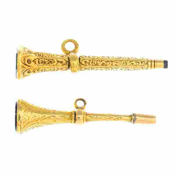 Two late Victorian gold agate watch keys. Each designed