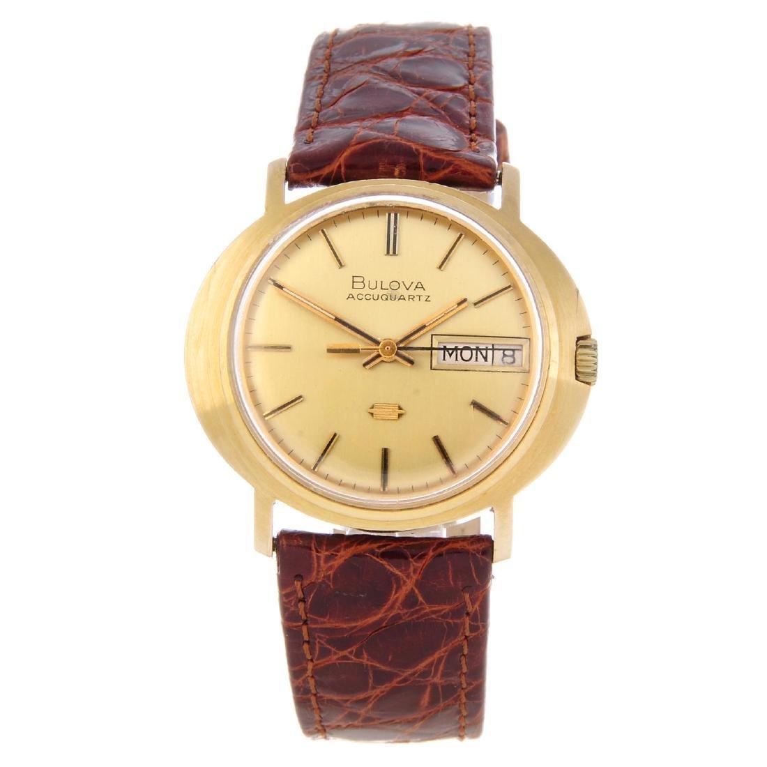 BULOVA - a gentleman's Accuquartz wrist watch. 9ct