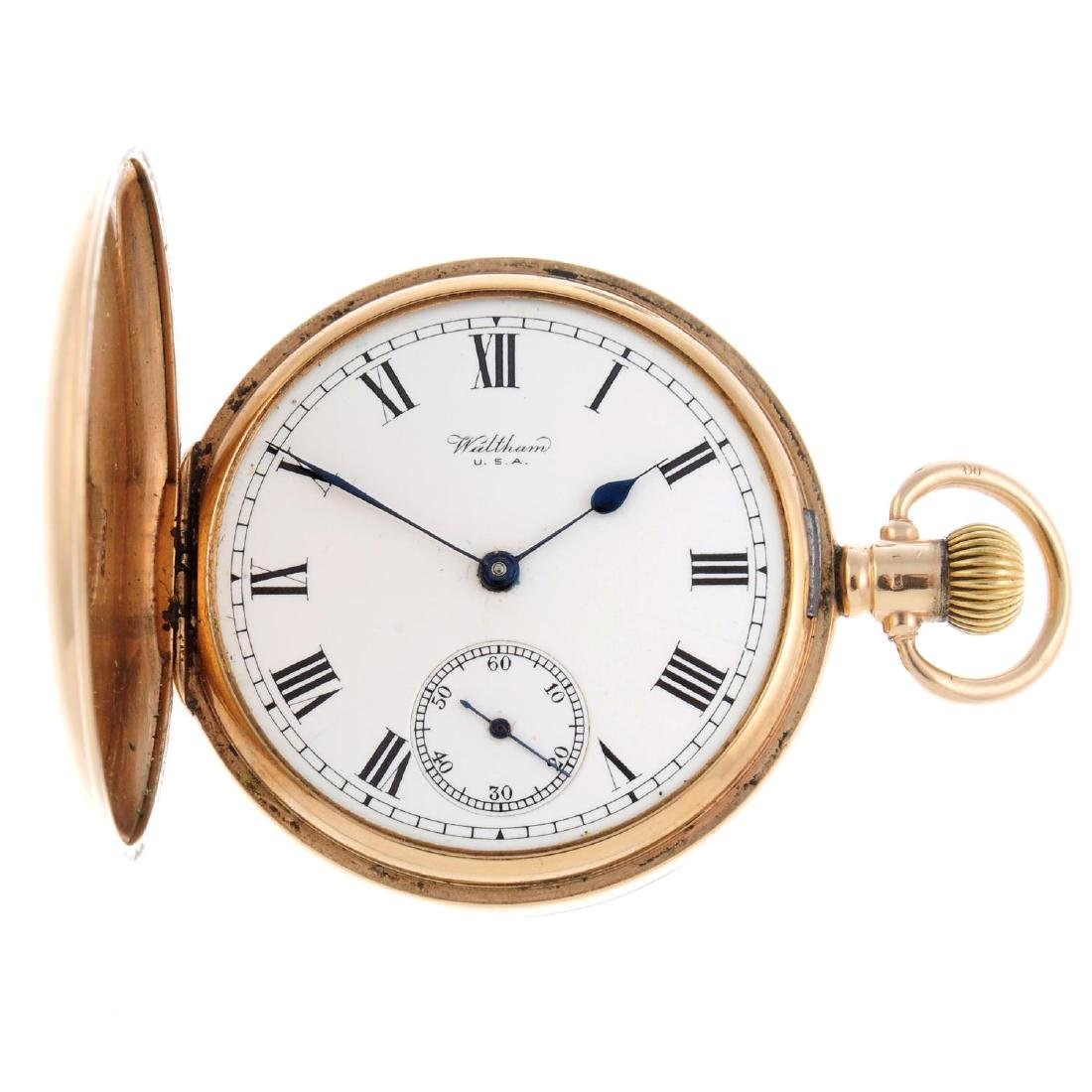 A full hunter pocket watch by Waltham. 9ct yellow gold