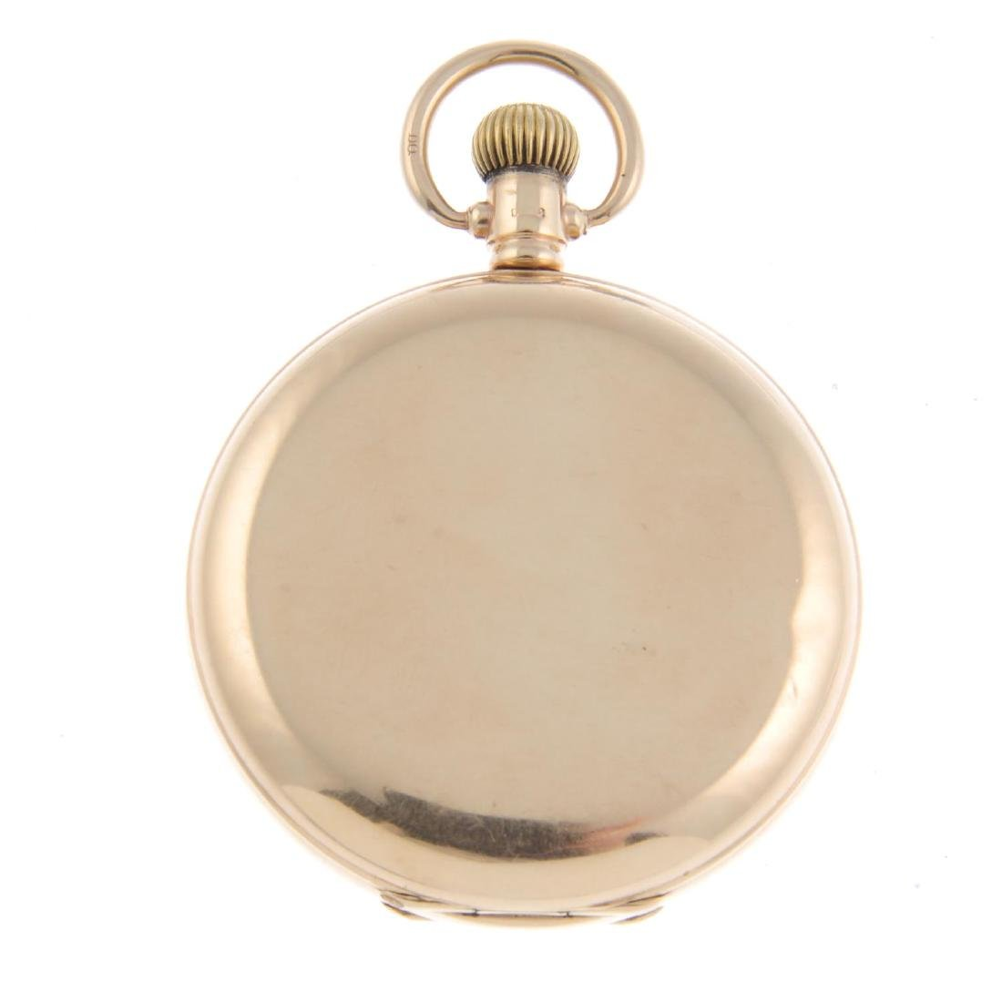 A full hunter pocket watch by Waltham. 9ct yellow gold - 2