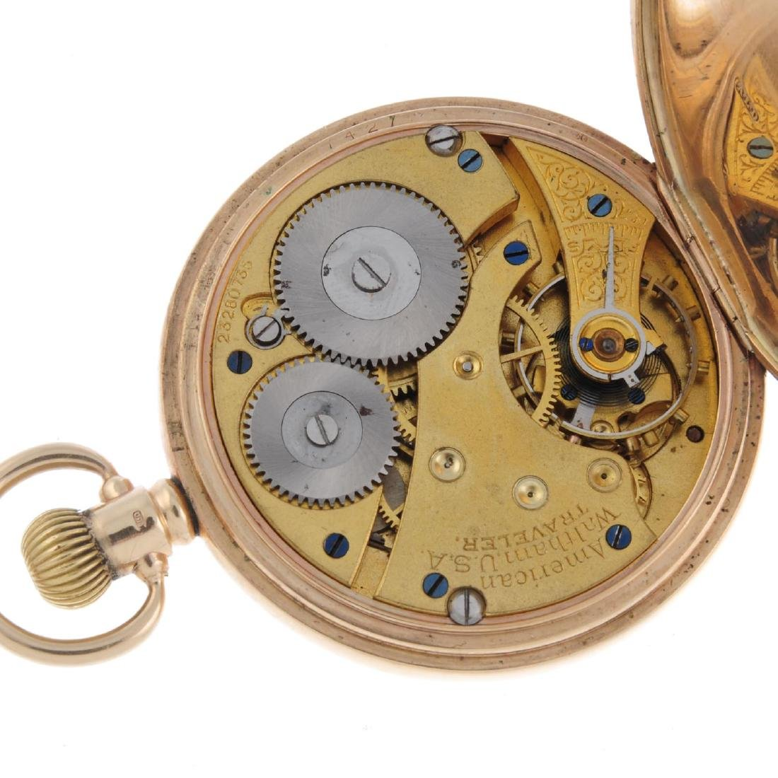 A full hunter pocket watch by Waltham. 9ct yellow gold - 3