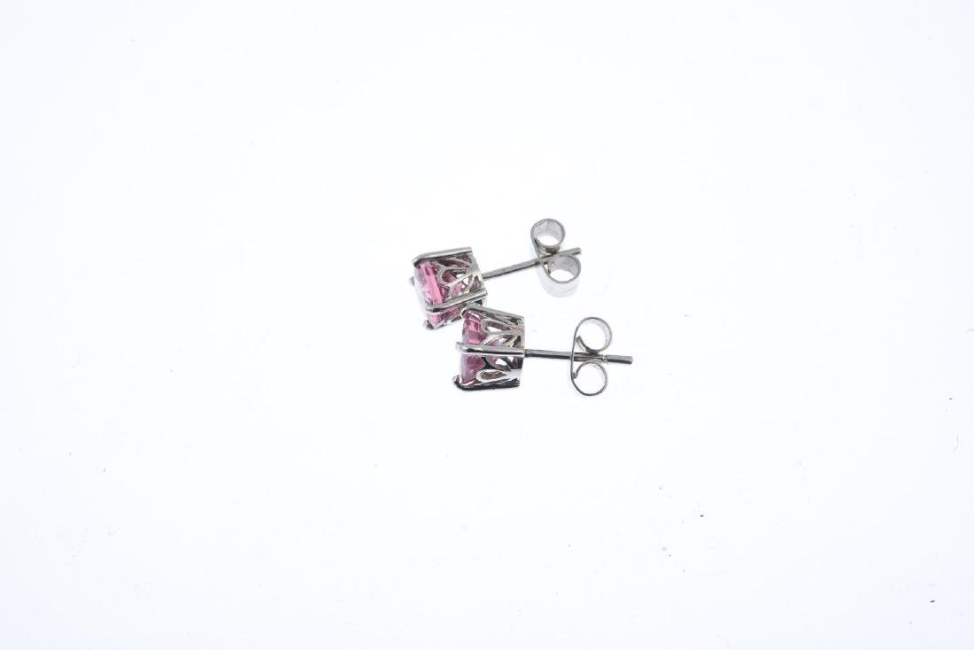 A pair of spinel stud earrings. Each designed as a - 2