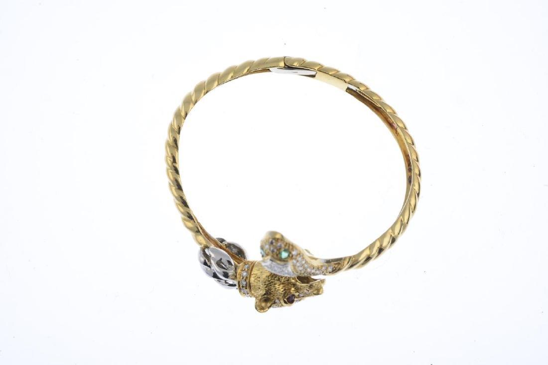 A diamond, ruby and emerald bangle. Of bi-colour - 3