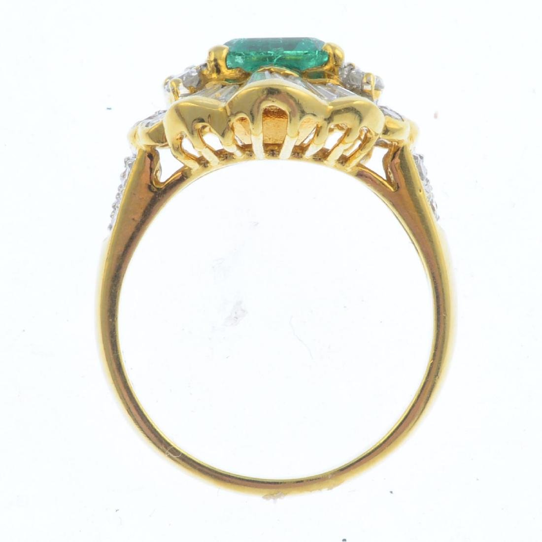 An emerald and diamond dress ring. The - 2