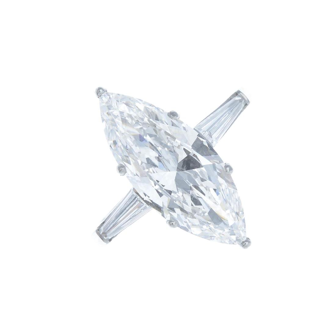 A diamond single-stone ring. Designed as a