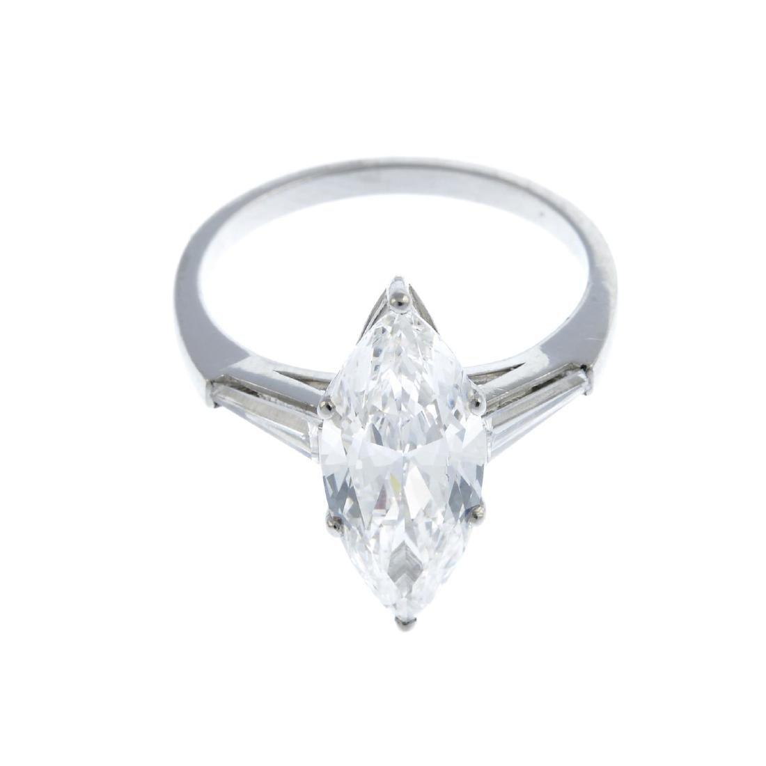A diamond single-stone ring. Designed as a - 3