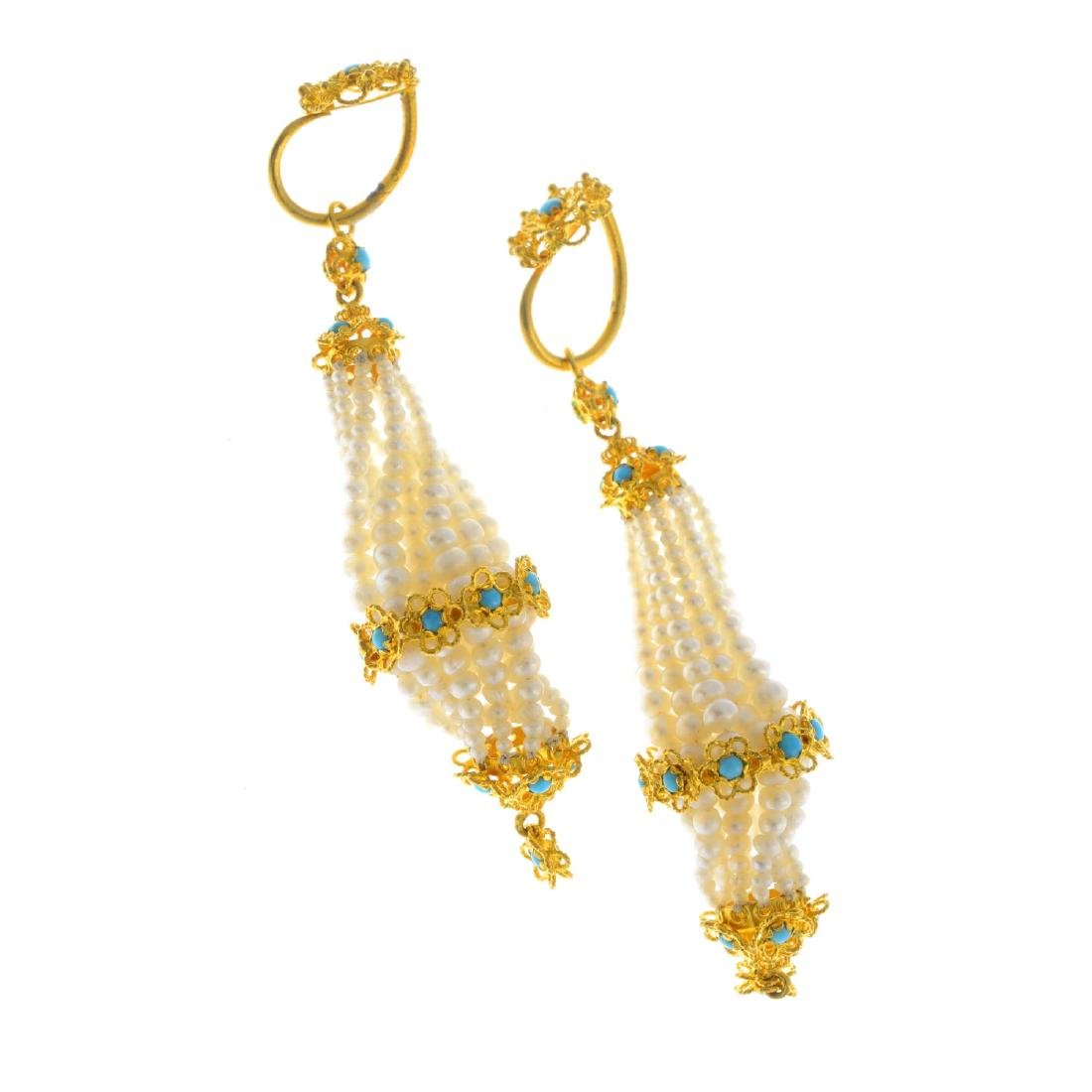 A pair of turquoise and seed pearl earrings. Each - 2