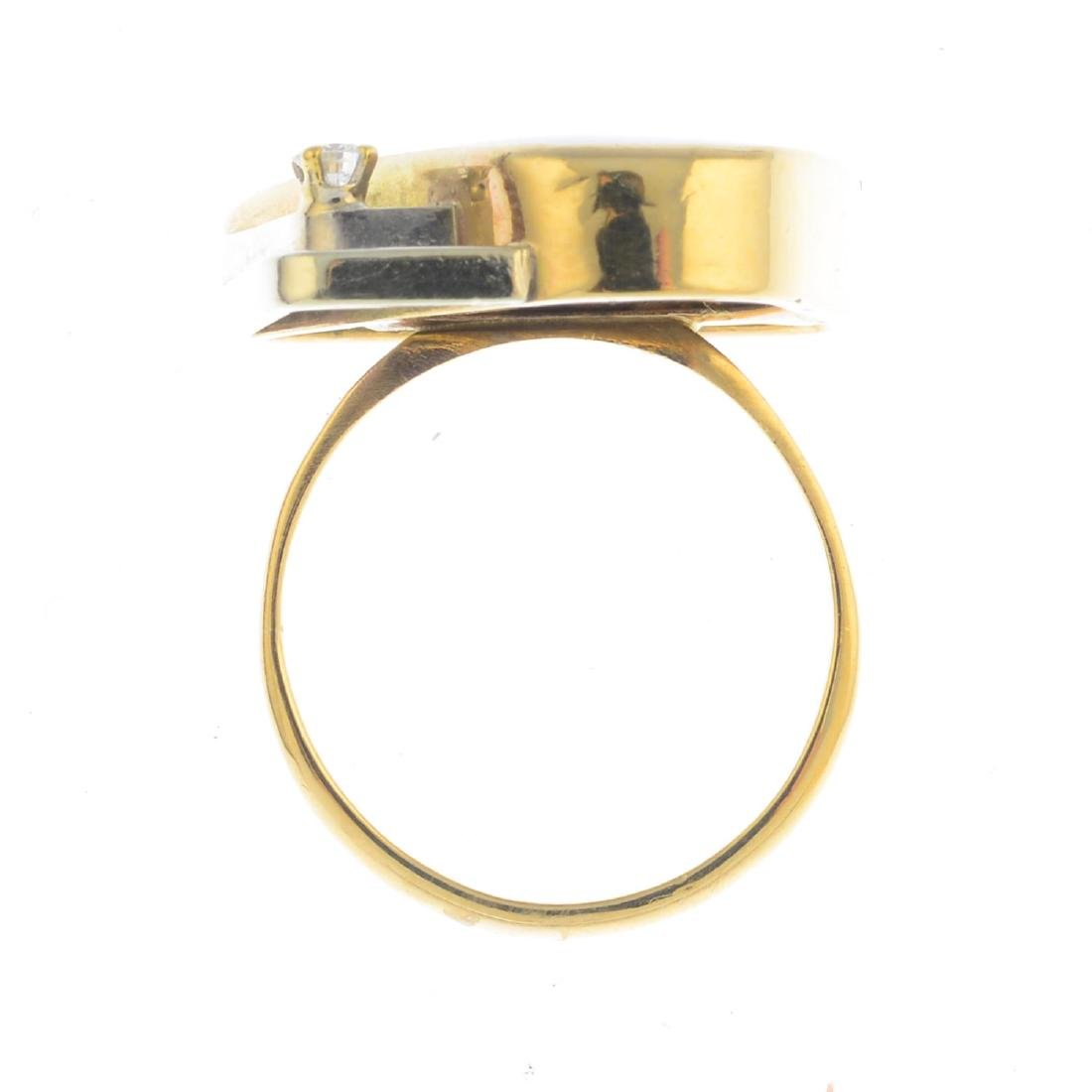 A boulder opal and diamond dress ring. Of abstract - 2