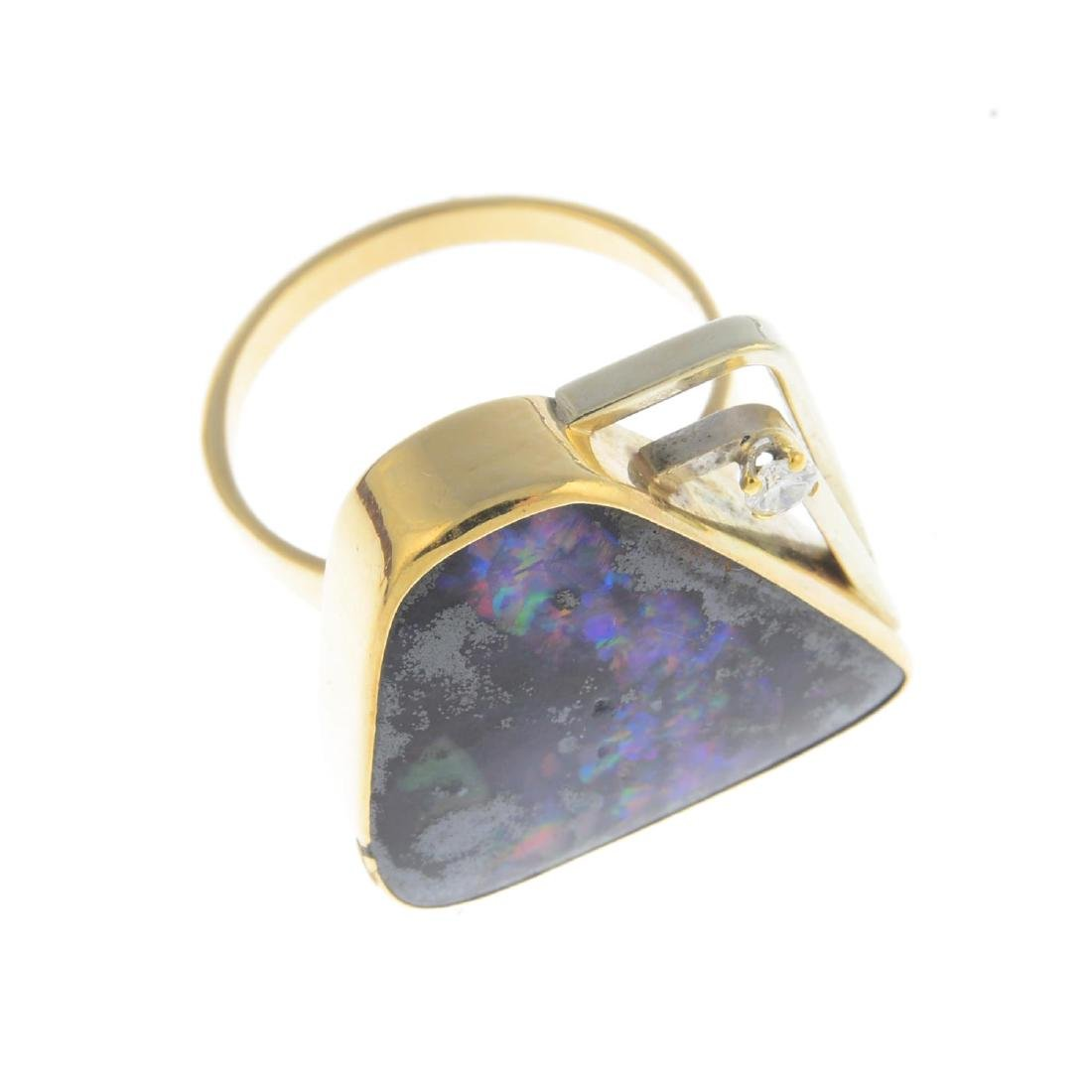 A boulder opal and diamond dress ring. Of abstract - 3