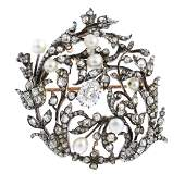 An early Victorian silver and gold, diamond and pearl
