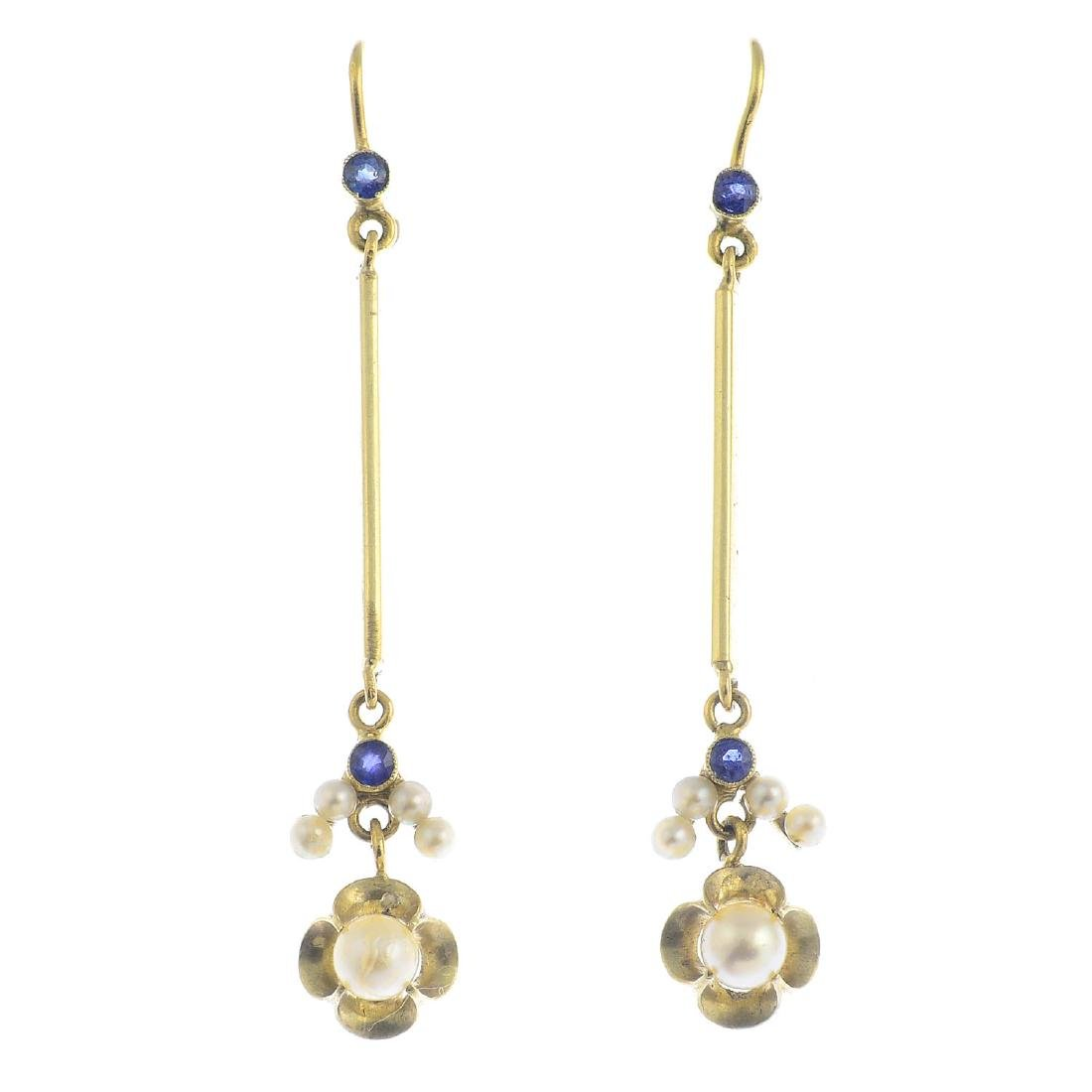 A pair of sapphire, cultured and seed pearl earrings.
