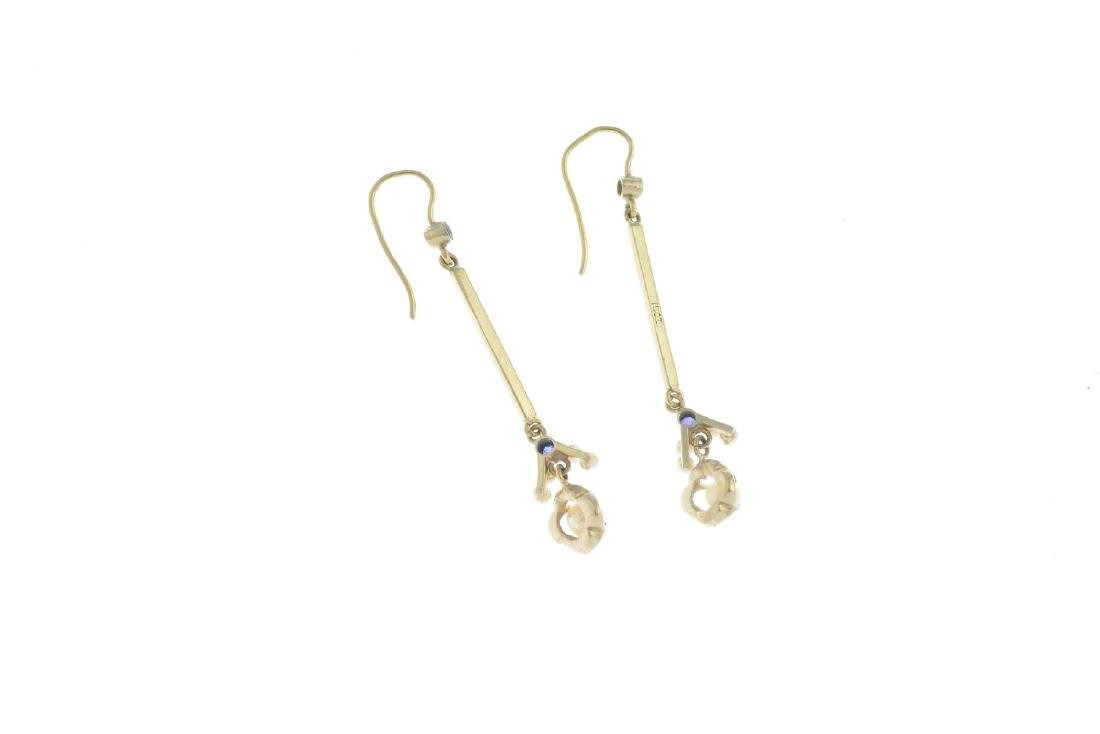 A pair of sapphire, cultured and seed pearl earrings. - 2