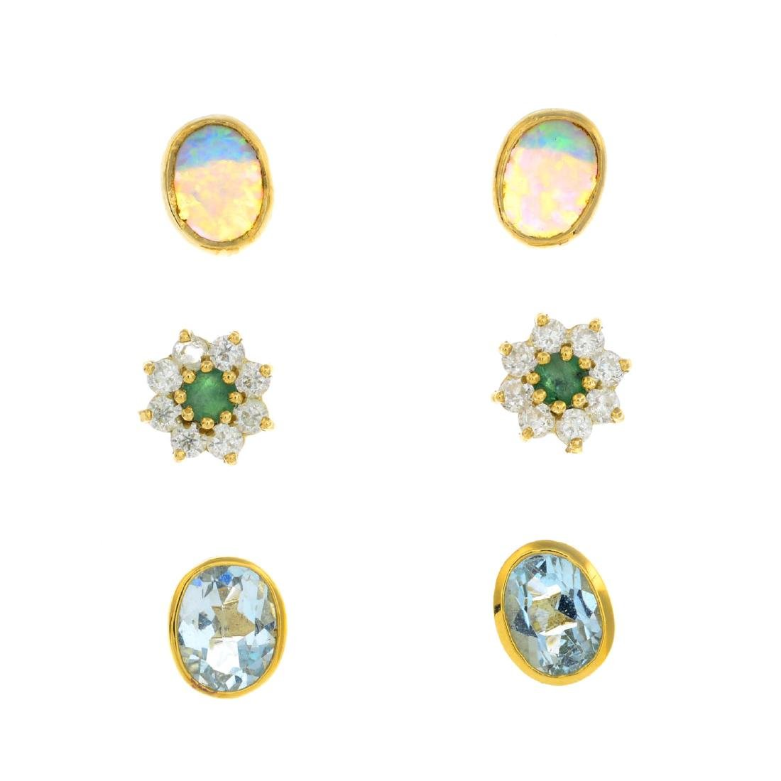 Fourteen pairs of gem-set earrings. To include a pair