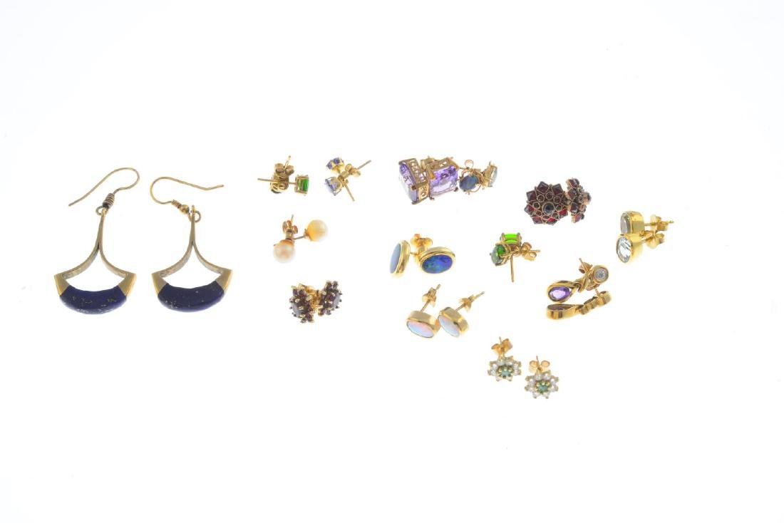 Fourteen pairs of gem-set earrings. To include a pair - 2