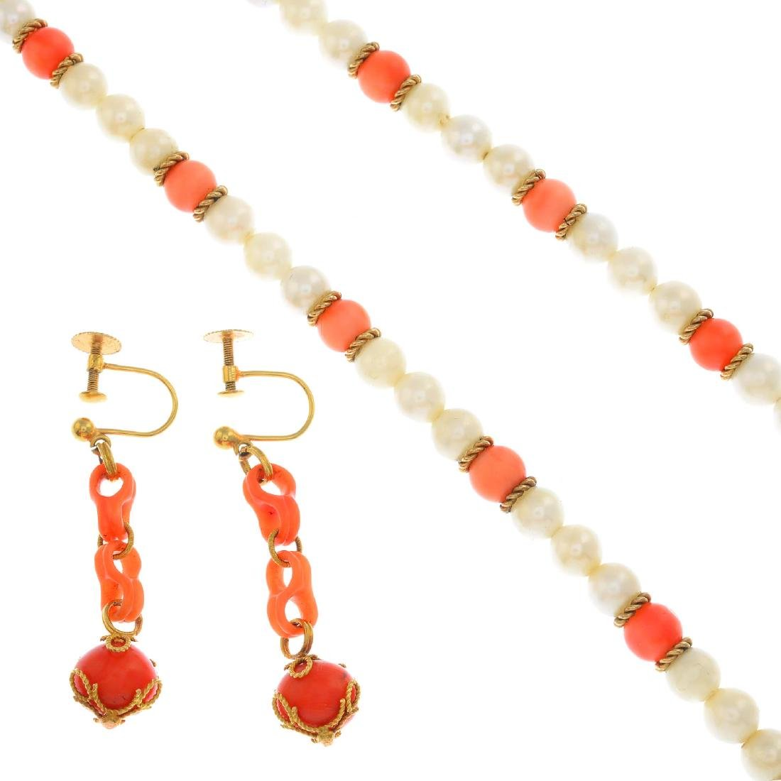 A coral and cultured pearl necklace and a pair of coral
