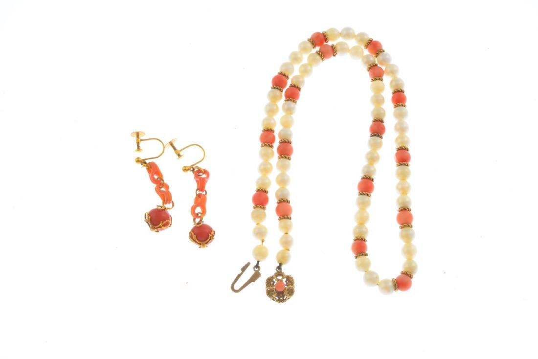 A coral and cultured pearl necklace and a pair of coral - 2