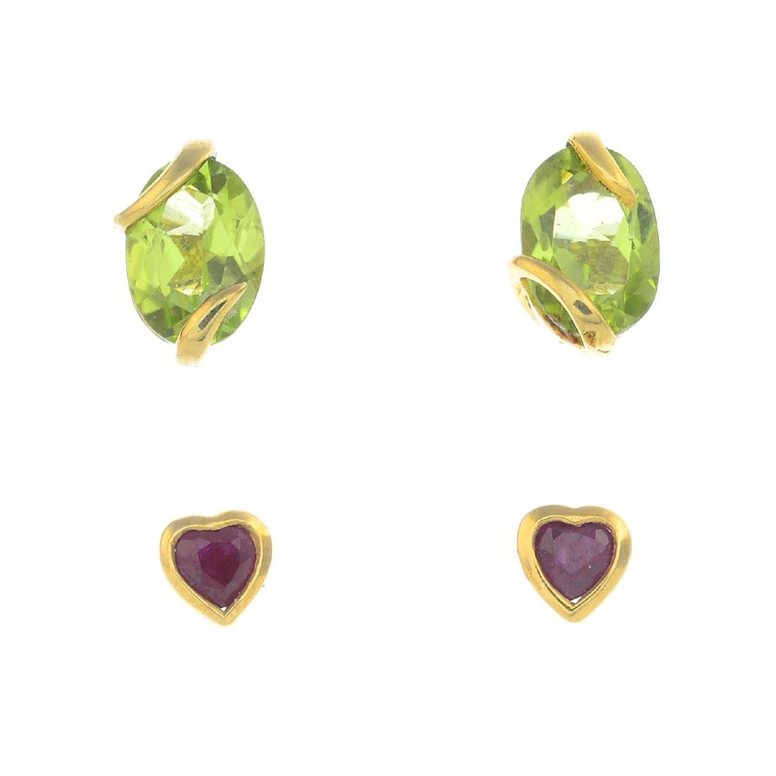 Seven pairs of earrings. To include a pair of peridot