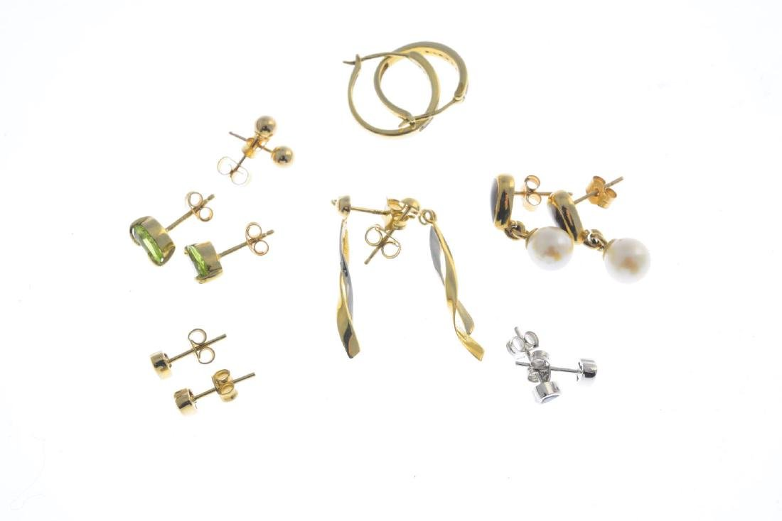 Seven pairs of earrings. To include a pair of peridot - 2