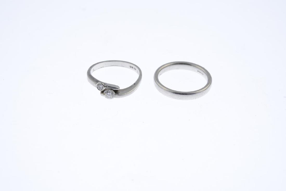 A platinum diamond two-stone ring and a platinum band - 2