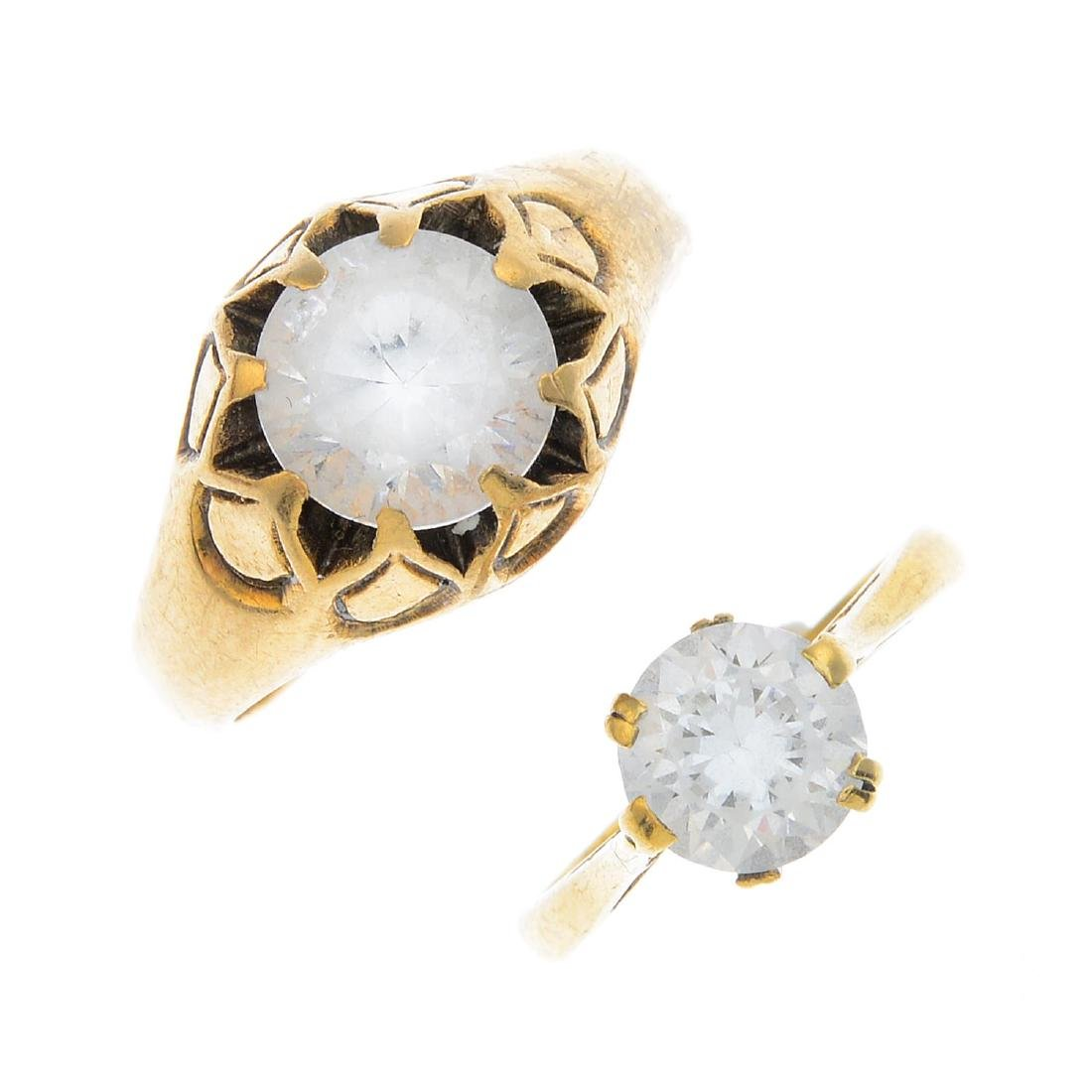 Two 9ct gold cubic zirconia rings. To include a