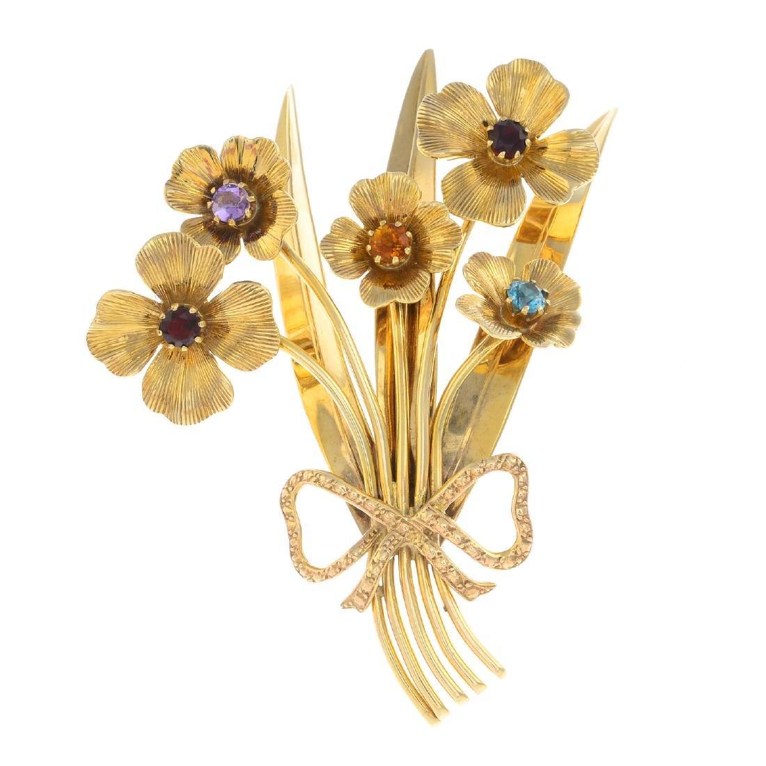 A mid 20th century 9ct gold gem-set floral brooch.