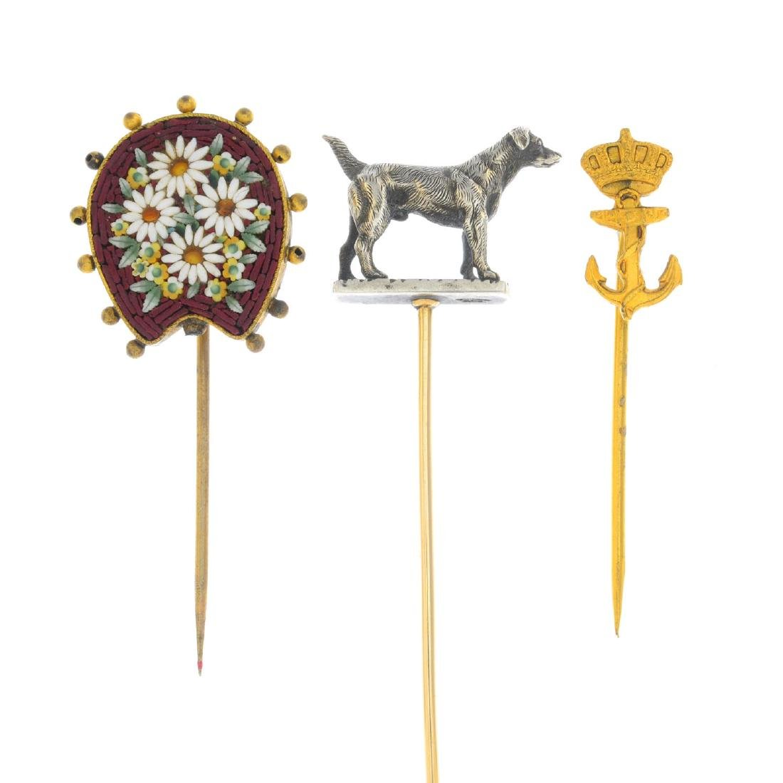 A selection of stick pins. To include a late Victorian