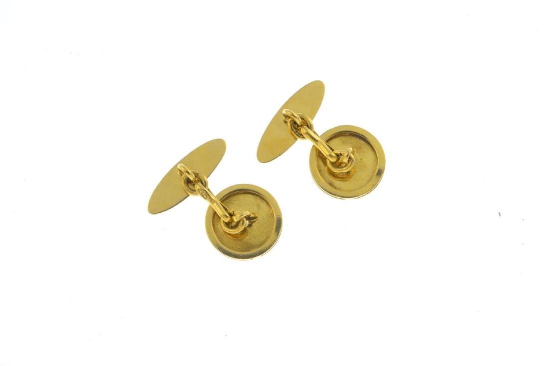 A pair of diamond cufflinks.  Each designed as a - 2