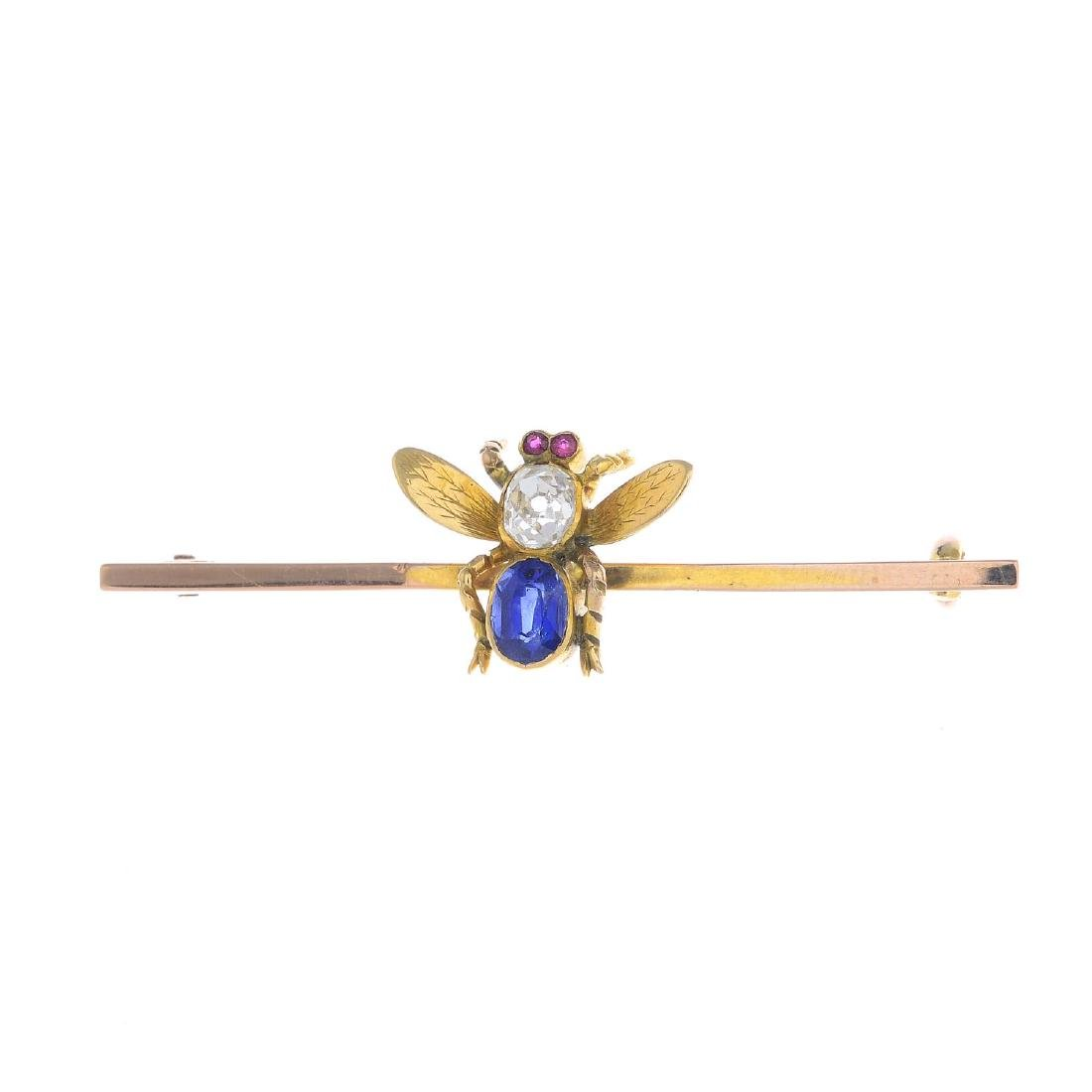 An early 20th century gold diamond and gem-set fly