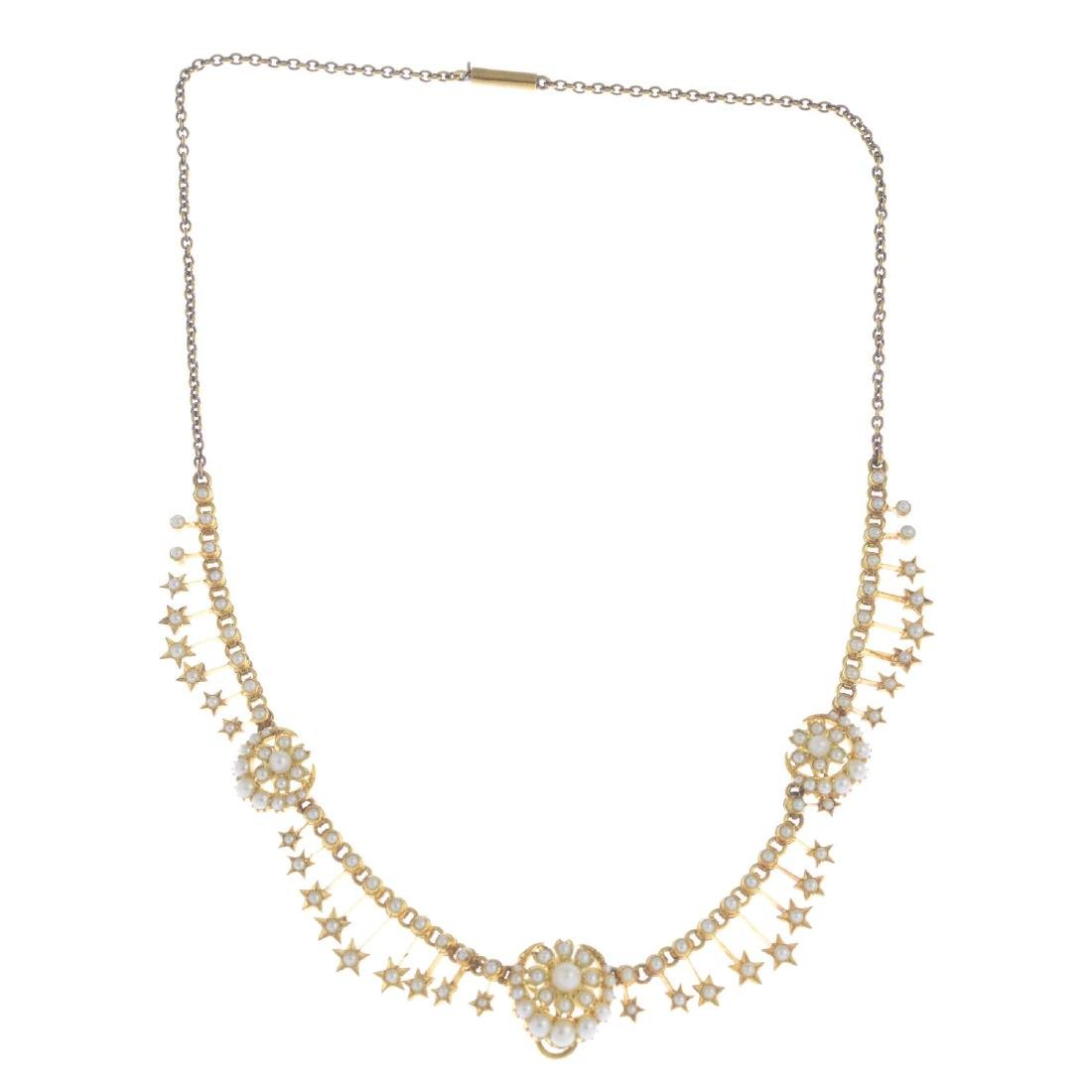 An early 20th century gold split and seed pearl - 2