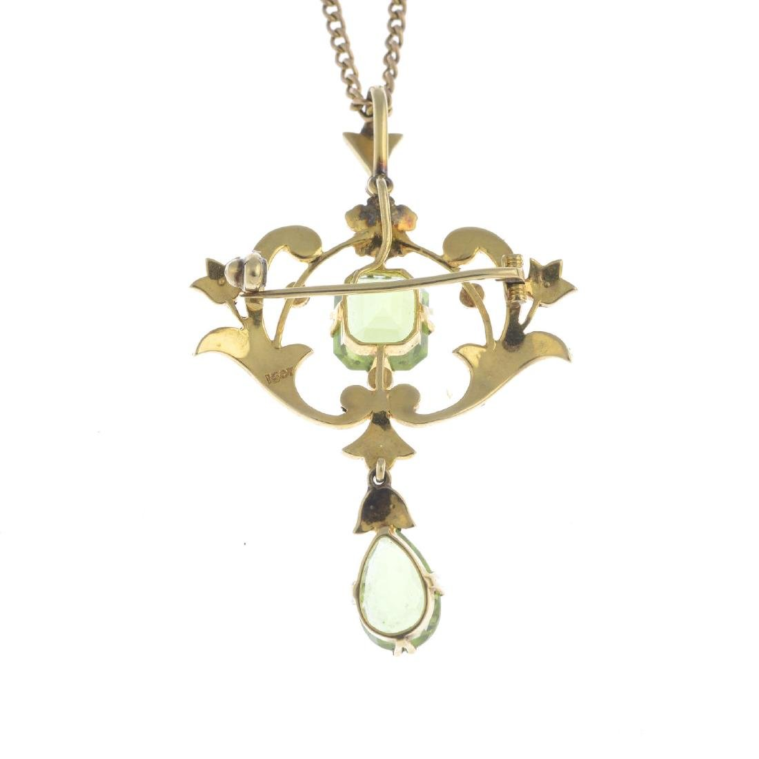 An early 20th century 15ct gold peridot and split pearl - 2