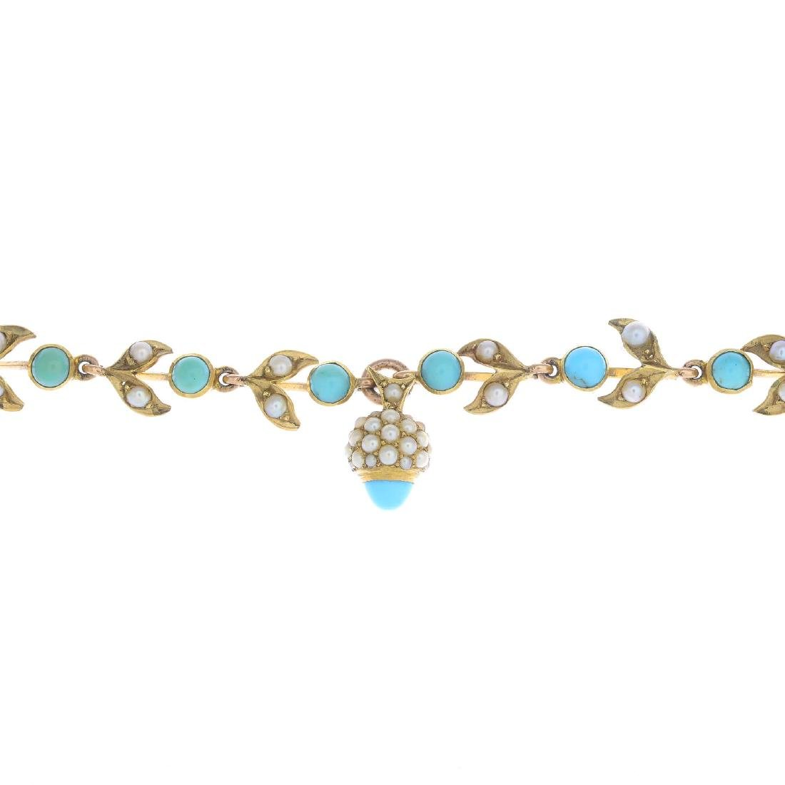 An early 20th century 14ct gold turquoise and split