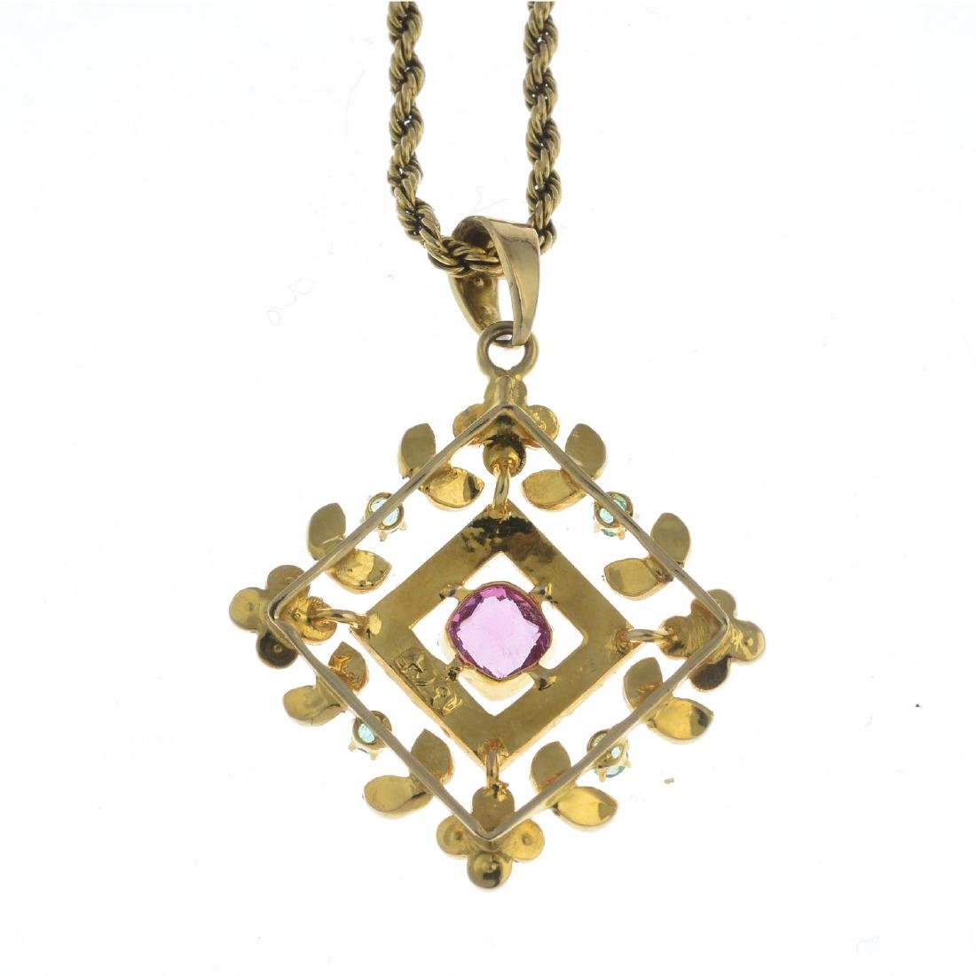 An early 20th century 15ct gold gem-set pendant. Of - 2