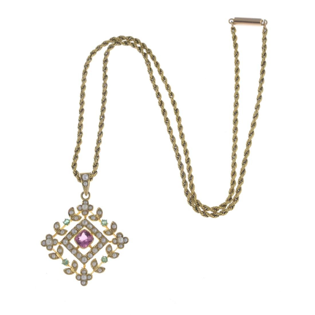 An early 20th century 15ct gold gem-set pendant. Of - 3
