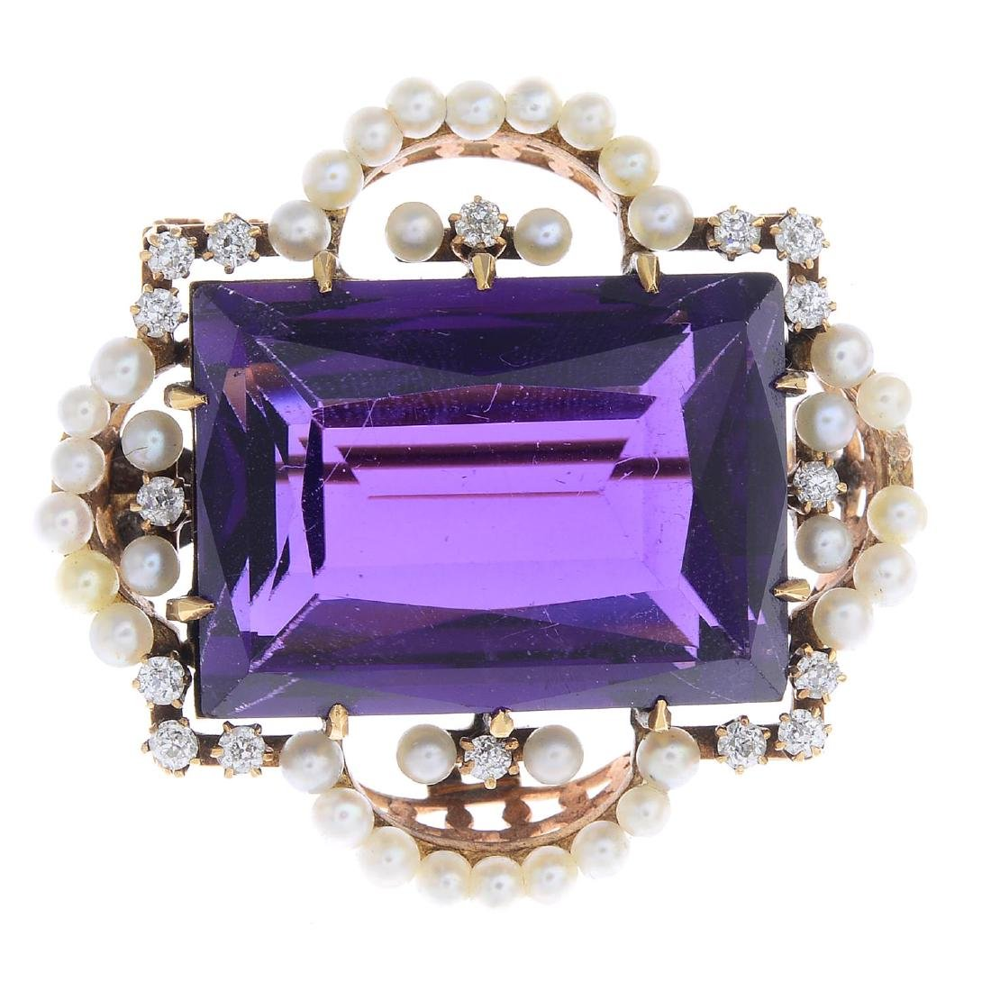 An early 20th century gold amethyst, diamond and seed