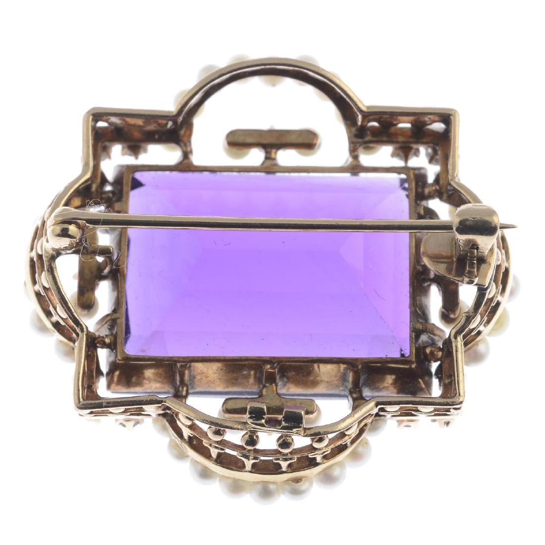 An early 20th century gold amethyst, diamond and seed - 2
