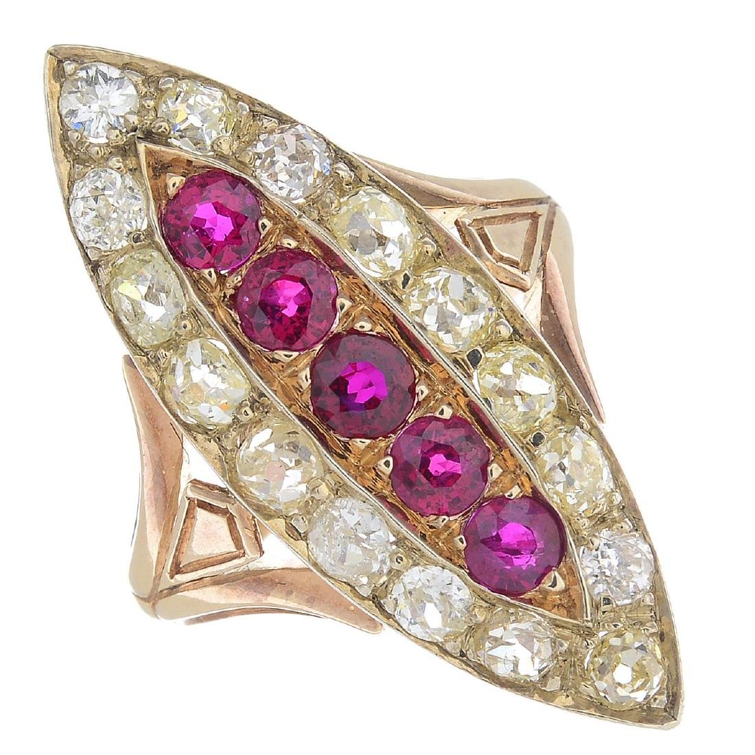 A ruby and diamond dress ring. Of marquise-shape