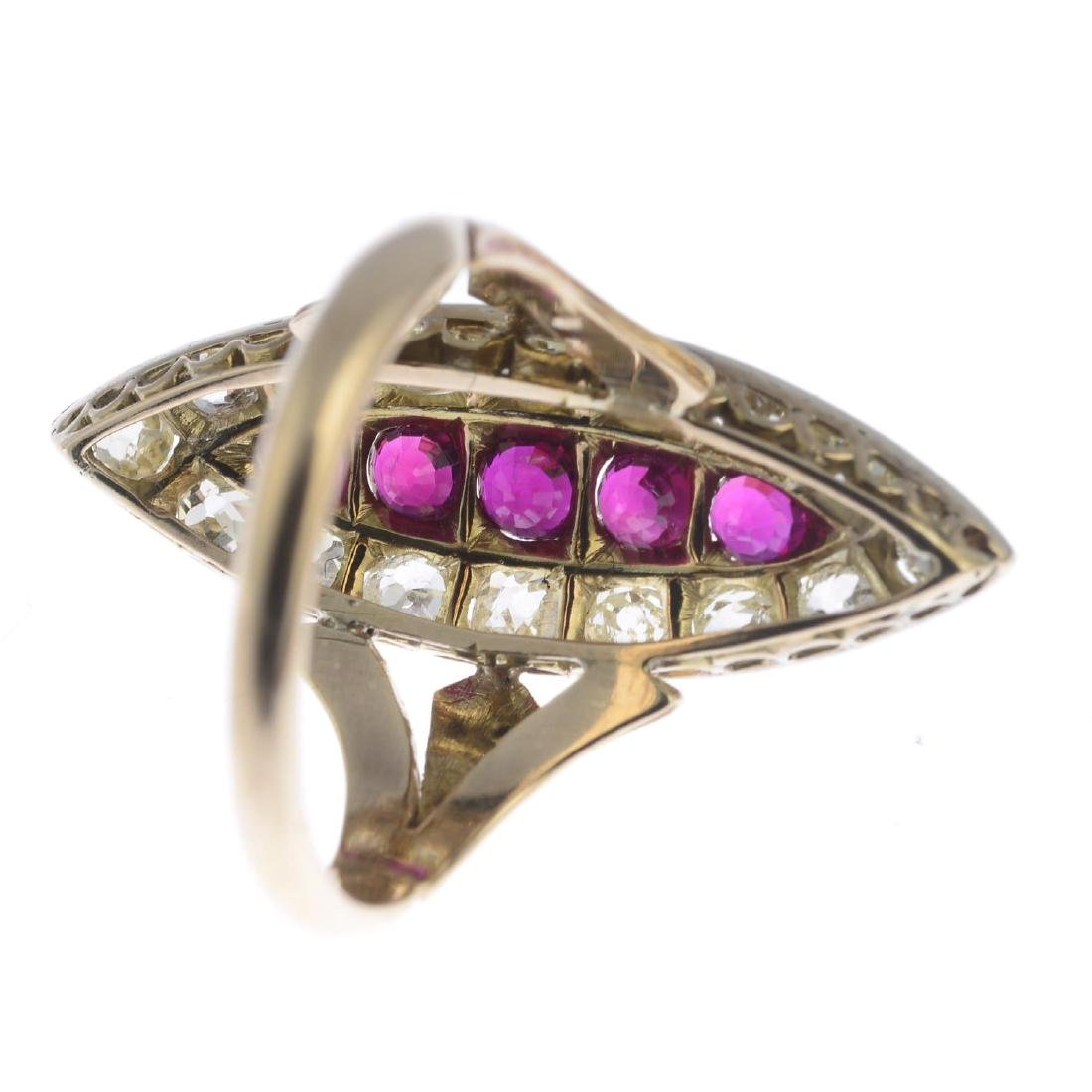 A ruby and diamond dress ring. Of marquise-shape - 3